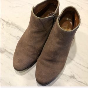 VTG-BOHO Tan Crown Leather Suede Booties-Size 7